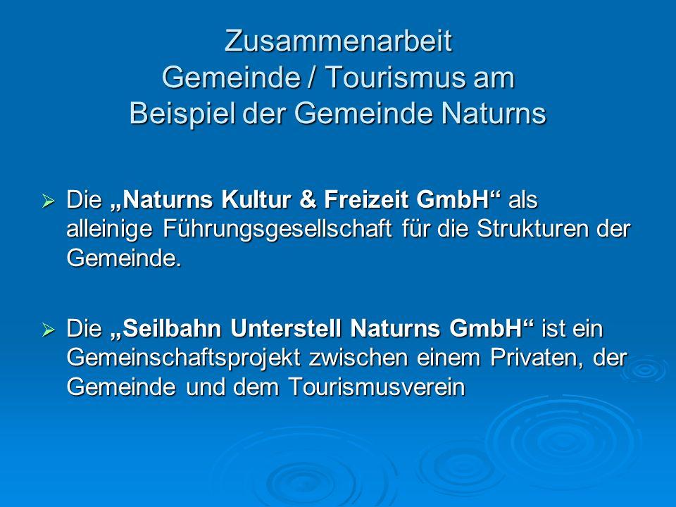Zusammenarbeit Gemeinde / Tourismus am Beispiel der Gemeinde Naturns Die Naturns Kultur & Freizeit GmbH als alleinige Führungsgesellschaft für die Str