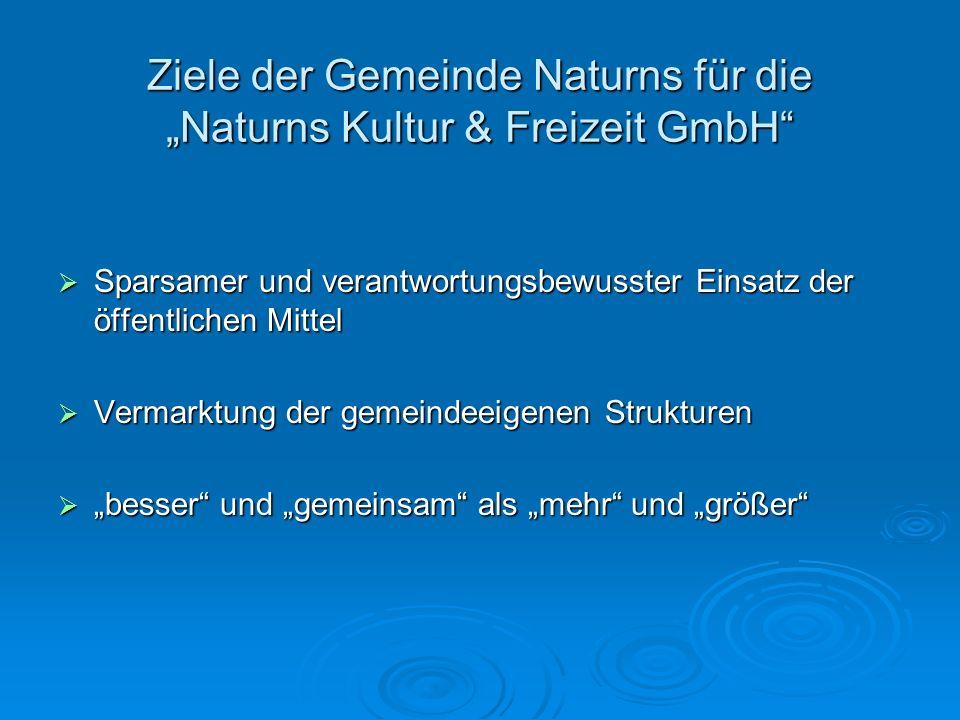 Ziele der Gemeinde Naturns für die Naturns Kultur & Freizeit GmbH Sparsamer und verantwortungsbewusster Einsatz der öffentlichen Mittel Sparsamer und