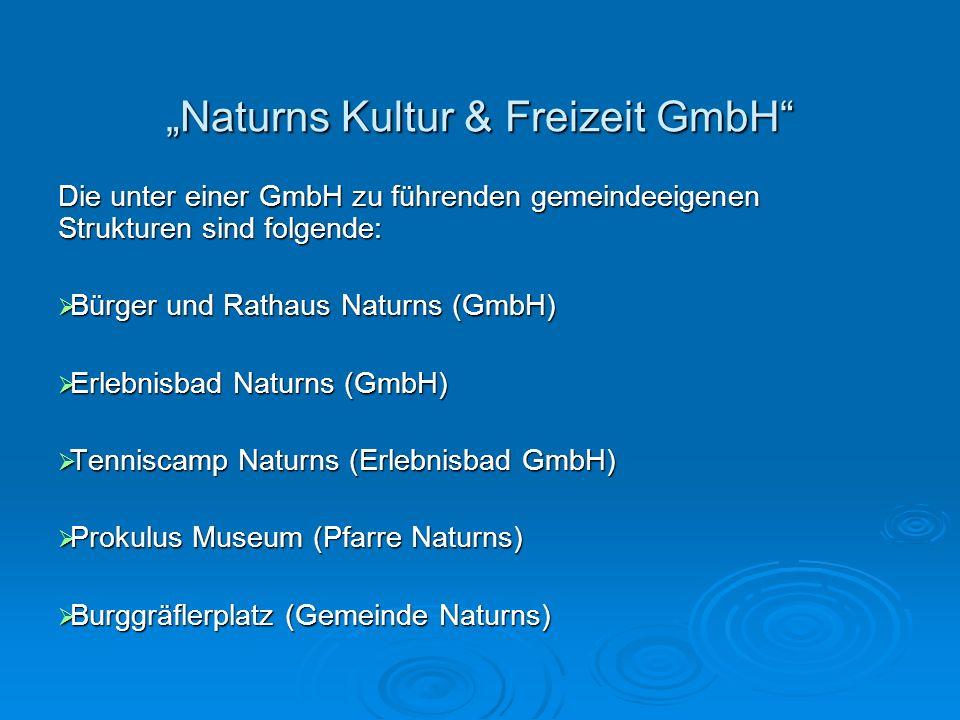 Die Zeit vor der Naturns Kultur & Freizeit GmbH Unterschiedliche Strukturen bedeuten unter- schiedliche Ansprechpartner für die Gemeinde- verwaltung Unterschiedliche Strukturen bedeuten unter- schiedliche Ansprechpartner für die Gemeinde- verwaltung Konkrete Synergien bzw.