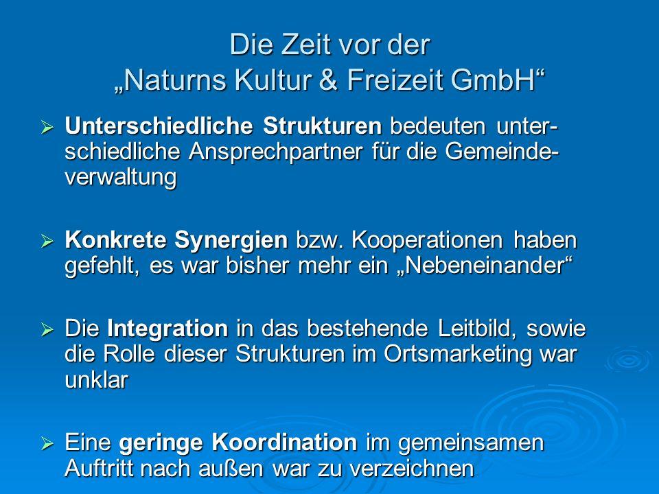 Die Zeit vor der Naturns Kultur & Freizeit GmbH Unterschiedliche Strukturen bedeuten unter- schiedliche Ansprechpartner für die Gemeinde- verwaltung U