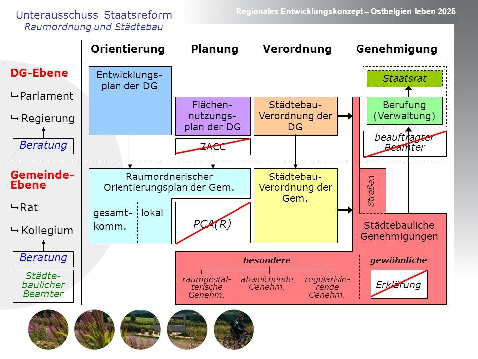 Regionales Entwicklungskonzept – Ostbelgien leben 2025 Unterausschuss Staatsreform Raumordnung und Städtebau DG-Ebene Parlament Regierung Gemeinde- Eb