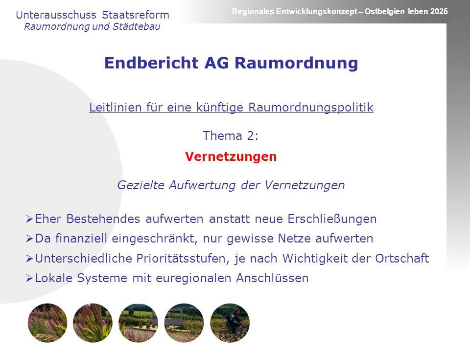 Regionales Entwicklungskonzept – Ostbelgien leben 2025 Unterausschuss Staatsreform Raumordnung und Städtebau Endbericht AG Raumordnung Leitlinien für