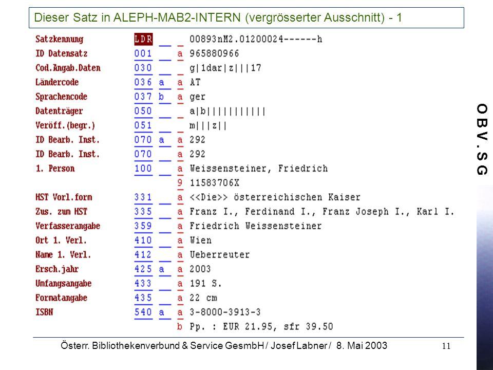 O B V. S G Österr. Bibliothekenverbund & Service GesmbH / Josef Labner / 8. Mai 200311 Dieser Satz in ALEPH-MAB2-INTERN (vergrösserter Ausschnitt) - 1