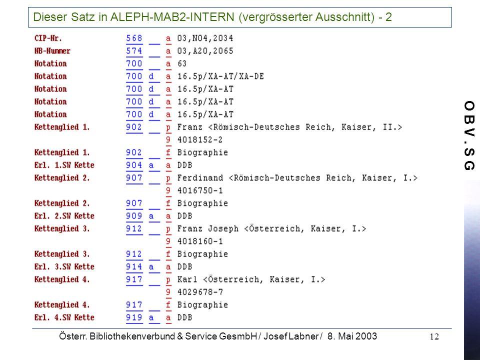 O B V. S G Österr. Bibliothekenverbund & Service GesmbH / Josef Labner / 8. Mai 200312 Dieser Satz in ALEPH-MAB2-INTERN (vergrösserter Ausschnitt) - 2