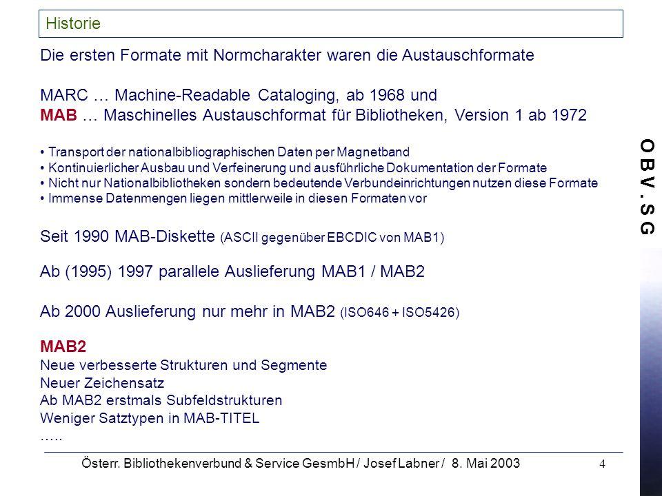 O B V. S G Österr. Bibliothekenverbund & Service GesmbH / Josef Labner / 8. Mai 20034 Historie Die ersten Formate mit Normcharakter waren die Austausc