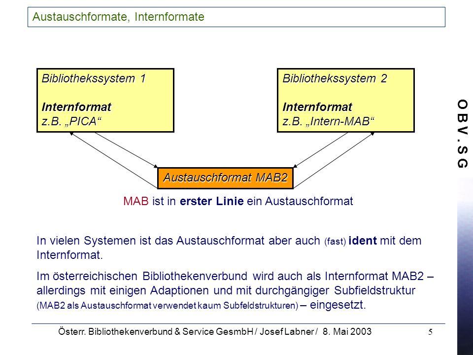 O B V. S G Österr. Bibliothekenverbund & Service GesmbH / Josef Labner / 8. Mai 20035 Austauschformate, Internformate MAB ist in erster Linie ein Aust