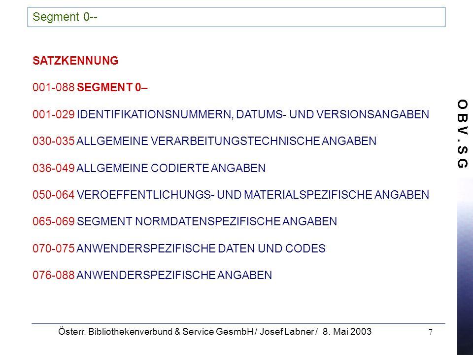 O B V. S G Österr. Bibliothekenverbund & Service GesmbH / Josef Labner / 8. Mai 20037 Segment 0-- SATZKENNUNG 001-088 SEGMENT 0– 001-029 IDENTIFIKATIO