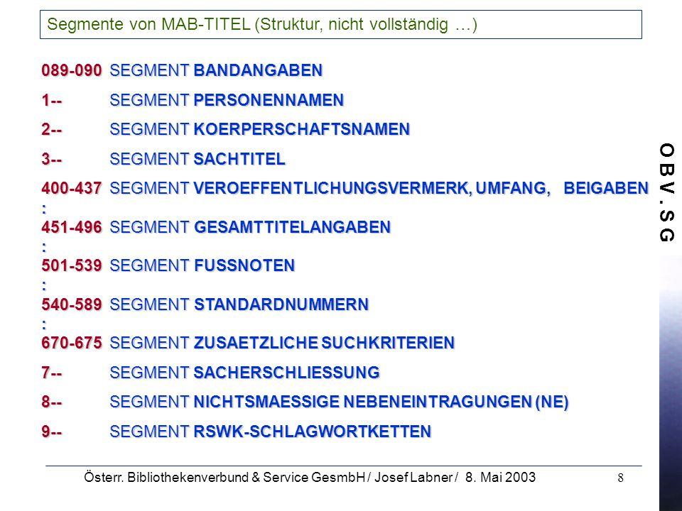 O B V. S G Österr. Bibliothekenverbund & Service GesmbH / Josef Labner / 8. Mai 20038 Segmente von MAB-TITEL (Struktur, nicht vollständig …) 089-090SE