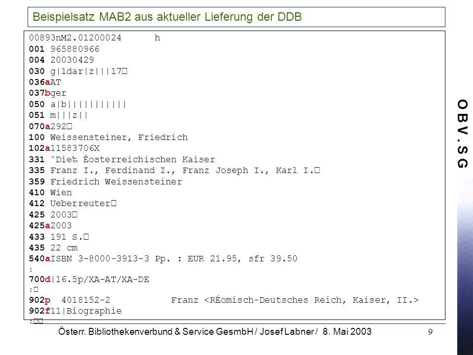O B V. S G Österr. Bibliothekenverbund & Service GesmbH / Josef Labner / 8. Mai 20039 Beispielsatz MAB2 aus aktueller Lieferung der DDB 00893nM2.01200