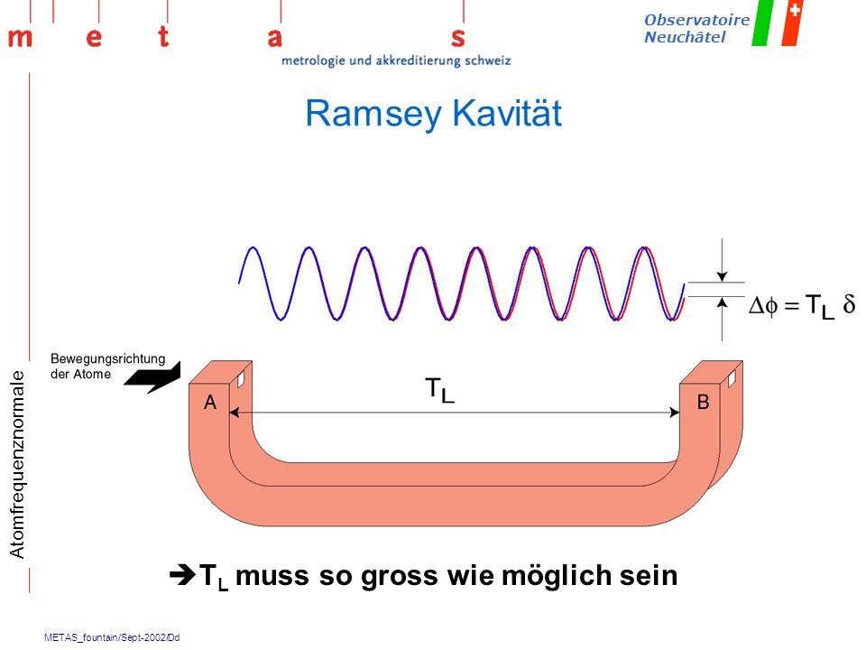 METAS_fountain/Sept-2002/Dd Observatoire Neuchâtel T L muss so gross wie möglich sein Ramsey Kavität Atomfrequenznormale