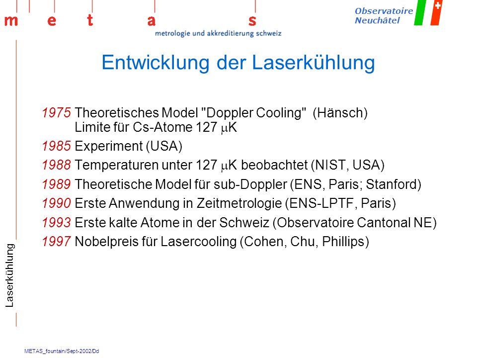 METAS_fountain/Sept-2002/Dd Observatoire Neuchâtel Entwicklung der Laserkühlung 1975Theoretisches Model