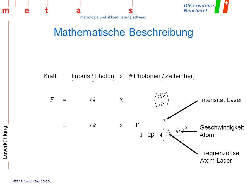 METAS_fountain/Sept-2002/Dd Observatoire Neuchâtel Mathematische Beschreibung Laserkühlung Intensität Laser Geschwindigkeit Atom Frequenzoffset Atom-L