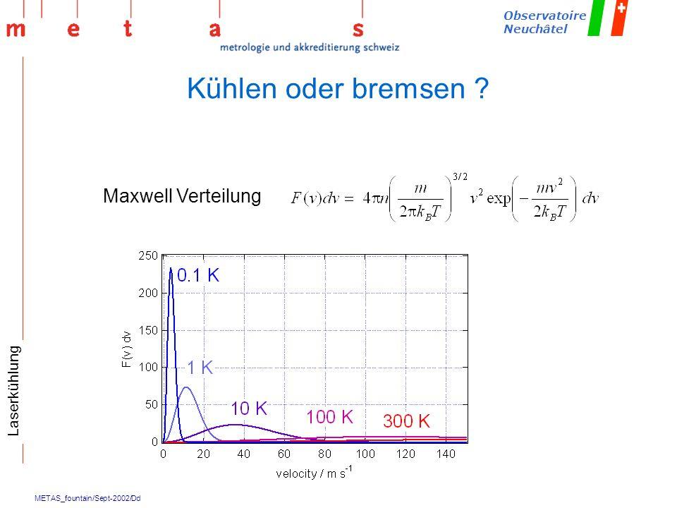 METAS_fountain/Sept-2002/Dd Observatoire Neuchâtel Kühlen oder bremsen ? Maxwell Verteilung Laserkühlung