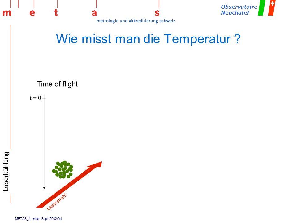 METAS_fountain/Sept-2002/Dd Observatoire Neuchâtel Wie misst man die Temperatur ? Laserkühlung