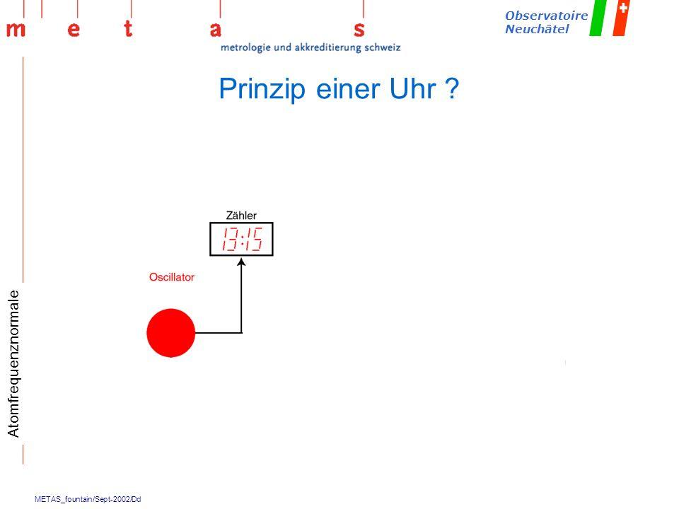 METAS_fountain/Sept-2002/Dd Observatoire Neuchâtel Prinzip einer Uhr ? Atomfrequenznormale