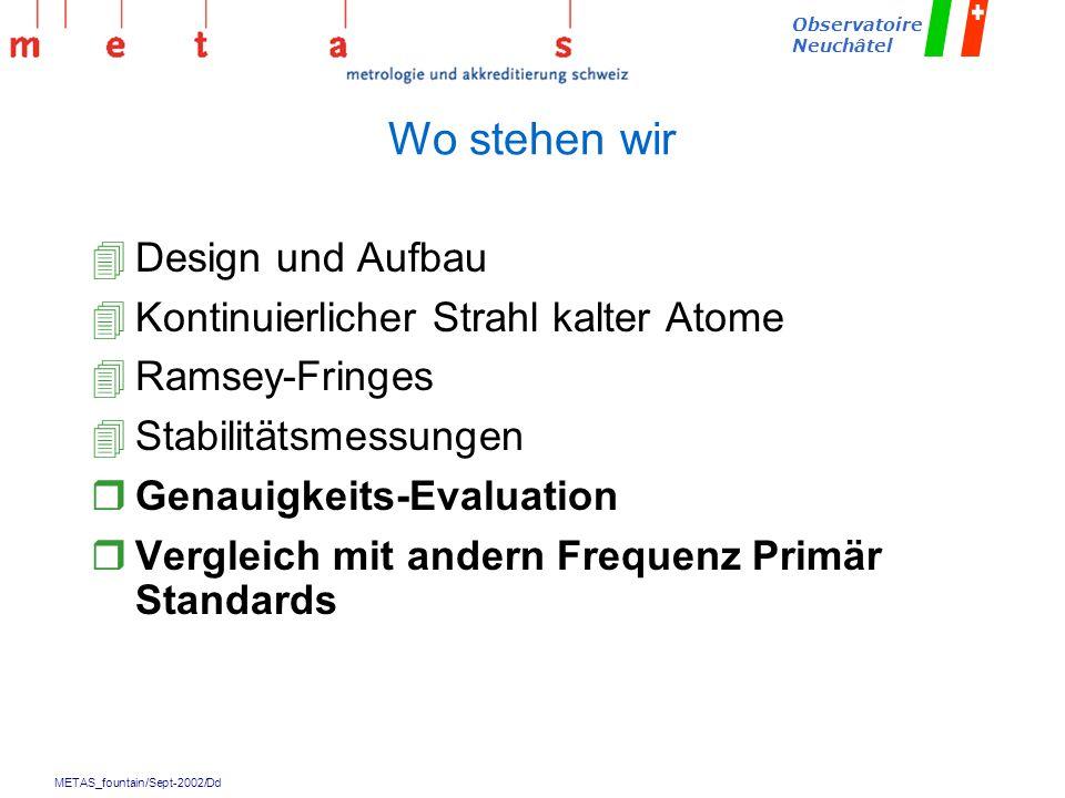 METAS_fountain/Sept-2002/Dd Observatoire Neuchâtel Wo stehen wir 4Design und Aufbau 4Kontinuierlicher Strahl kalter Atome 4Ramsey-Fringes 4Stabilitäts
