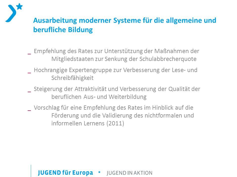 Ausarbeitung moderner Systeme für die allgemeine und berufliche Bildung _ Empfehlung des Rates zur Unterstützung der Maßnahmen der Mitgliedstaaten zur