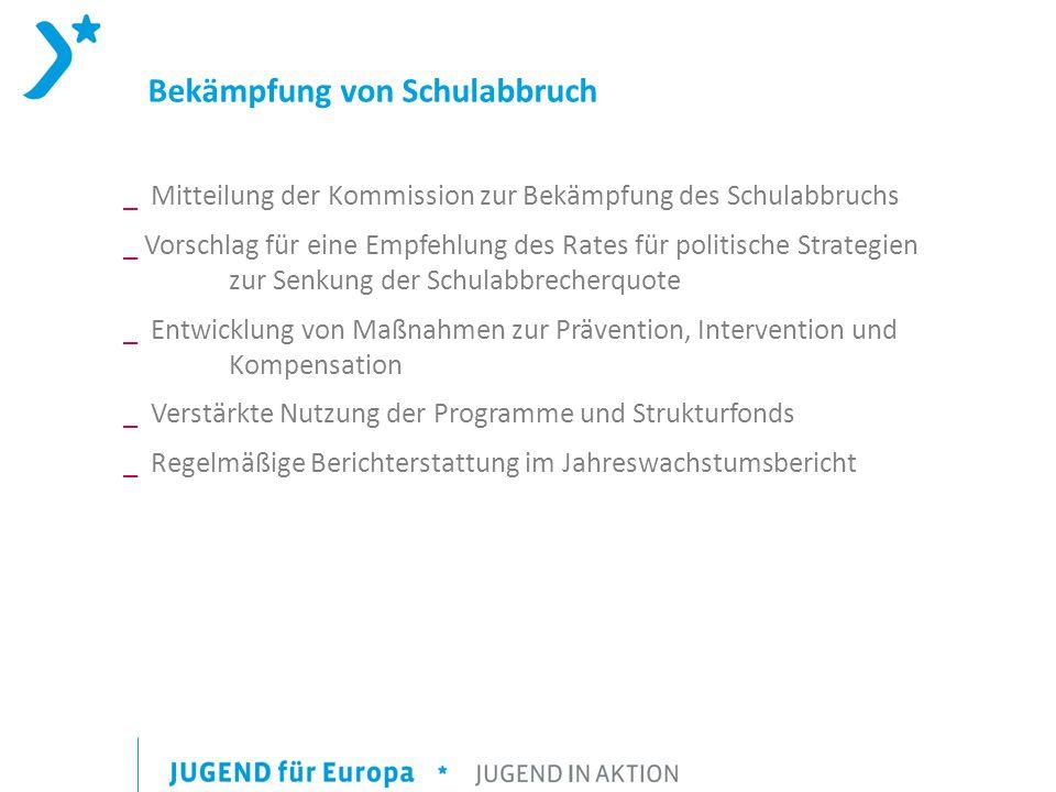 Bekämpfung von Schulabbruch _ Mitteilung der Kommission zur Bekämpfung des Schulabbruchs _ Vorschlag für eine Empfehlung des Rates für politische Stra