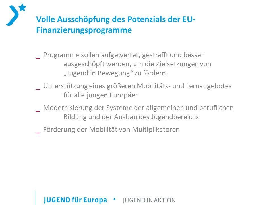 Volle Ausschöpfung des Potenzials der EU- Finanzierungsprogramme _ Programme sollen aufgewertet, gestrafft und besser ausgeschöpft werden, um die Ziel