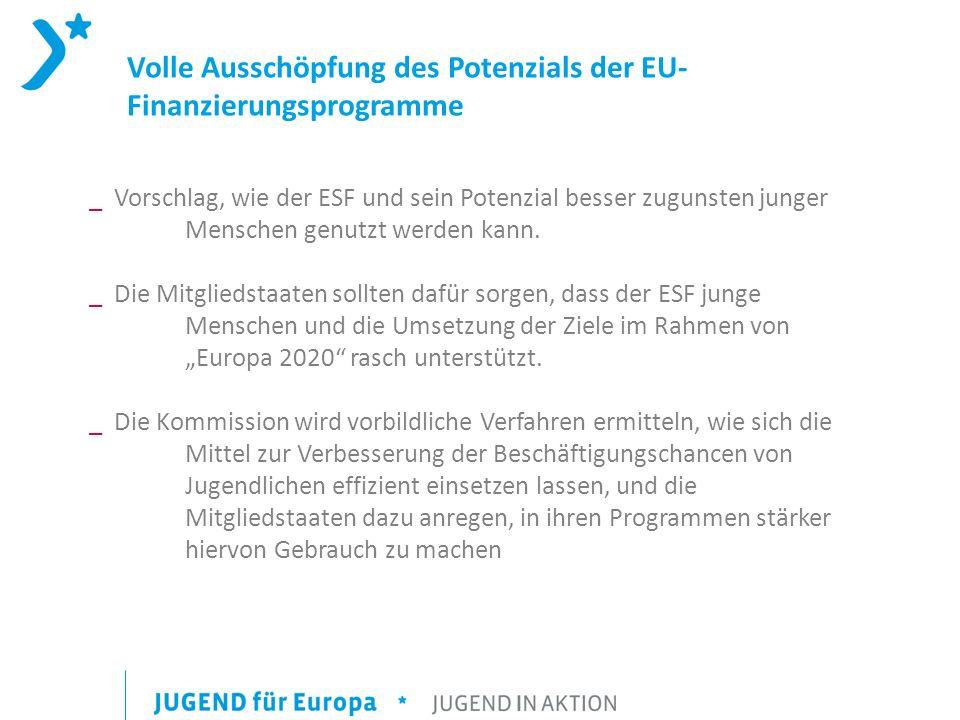 Volle Ausschöpfung des Potenzials der EU- Finanzierungsprogramme _ Vorschlag, wie der ESF und sein Potenzial besser zugunsten junger Menschen genutzt