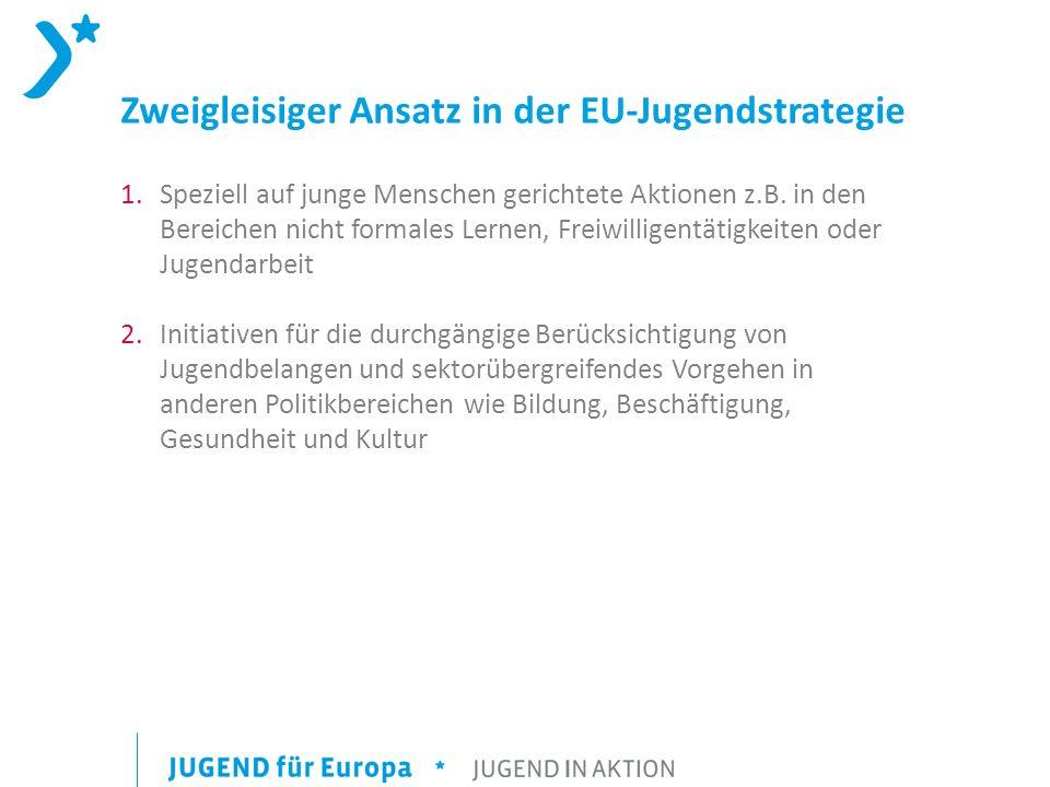 Zweigleisiger Ansatz in der EU-Jugendstrategie 1.Speziell auf junge Menschen gerichtete Aktionen z.B. in den Bereichen nicht formales Lernen, Freiwill