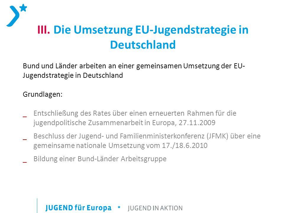 III. Die Umsetzung EU-Jugendstrategie in Deutschland Bund und Länder arbeiten an einer gemeinsamen Umsetzung der EU- Jugendstrategie in Deutschland Gr