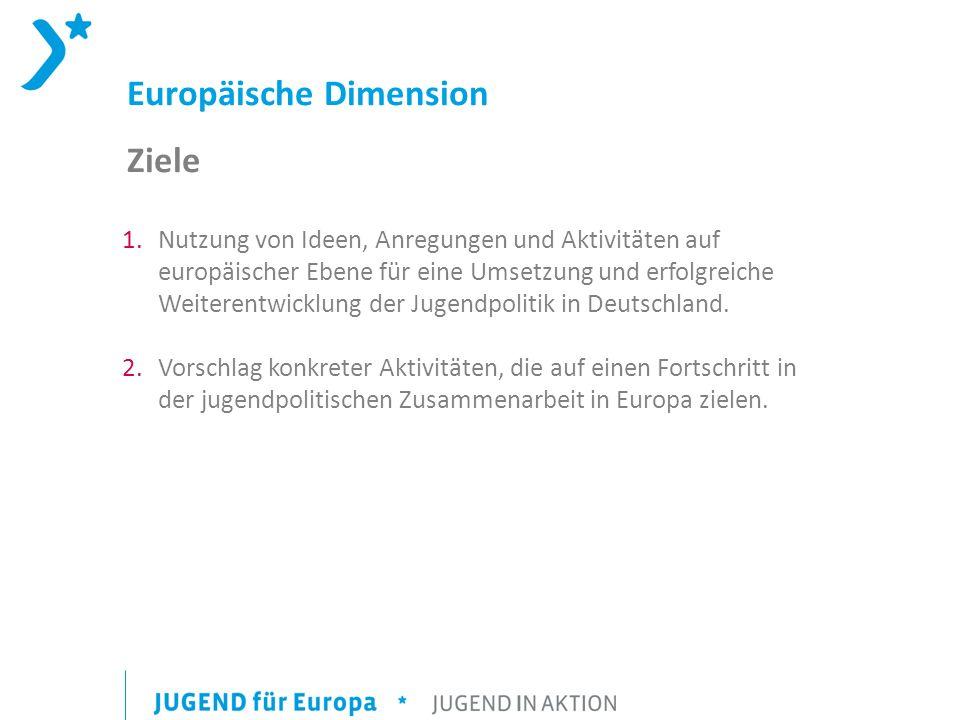 Europäische Dimension Ziele 1.Nutzung von Ideen, Anregungen und Aktivitäten auf europäischer Ebene für eine Umsetzung und erfolgreiche Weiterentwicklu