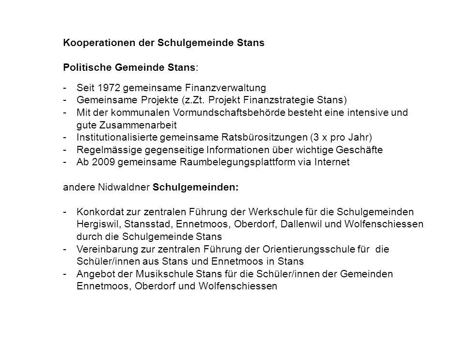 Kooperationen der Schulgemeinde Stans Politische Gemeinde Stans: -Seit 1972 gemeinsame Finanzverwaltung -Gemeinsame Projekte (z.Zt.