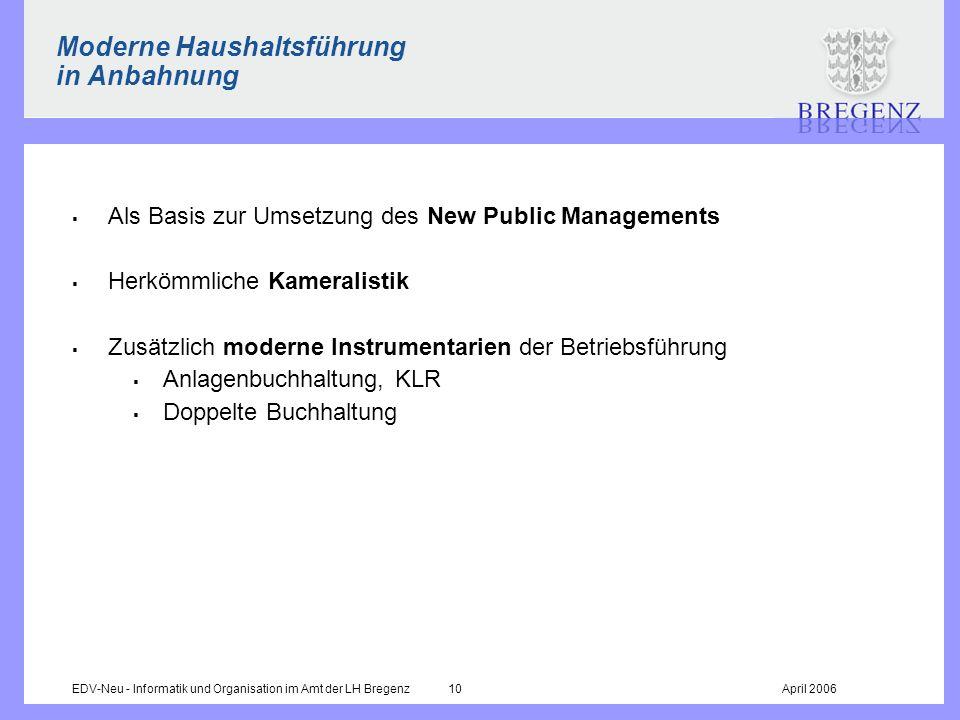 EDV-Neu - Informatik und Organisation im Amt der LH Bregenz 10April 2006 Moderne Haushaltsführung in Anbahnung Als Basis zur Umsetzung des New Public