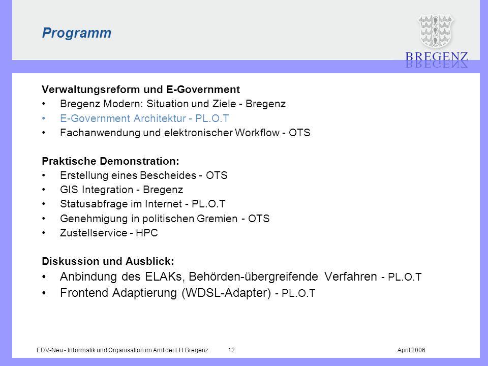 EDV-Neu - Informatik und Organisation im Amt der LH Bregenz 12April 2006 Programm Verwaltungsreform und E-Government Bregenz Modern: Situation und Zie