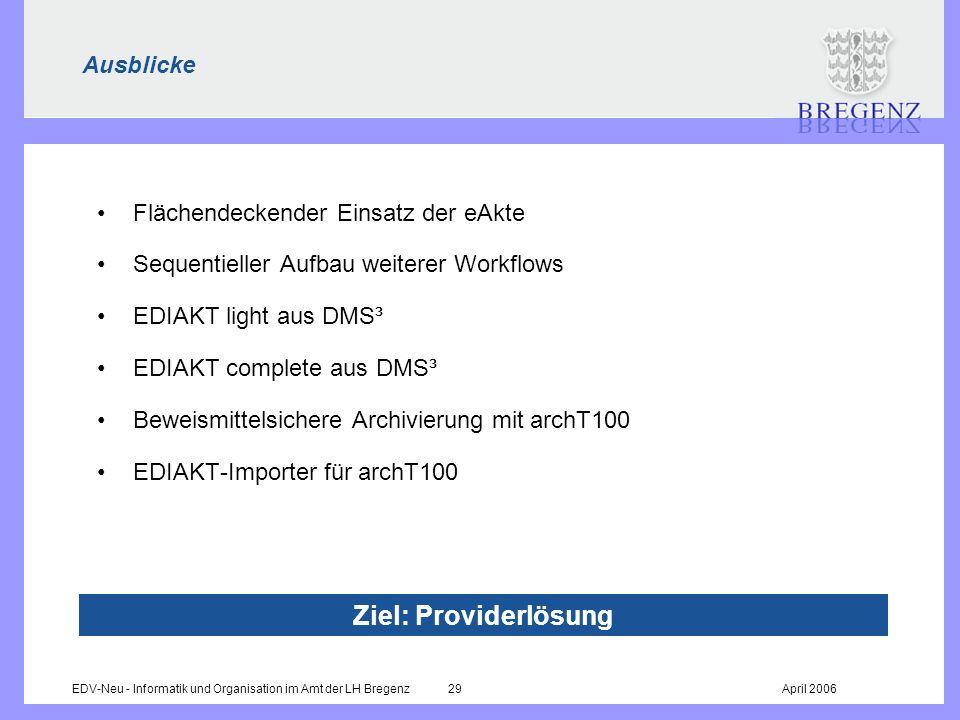EDV-Neu - Informatik und Organisation im Amt der LH Bregenz 29April 2006 Ausblicke Flächendeckender Einsatz der eAkte Sequentieller Aufbau weiterer Wo