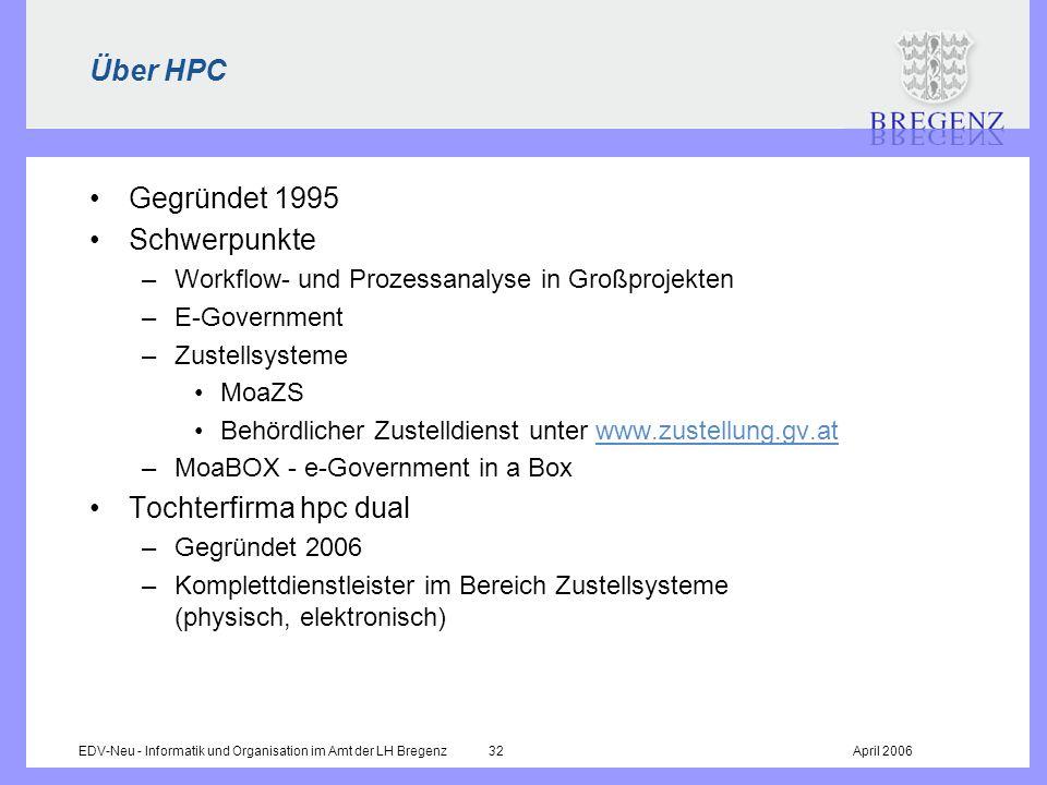 EDV-Neu - Informatik und Organisation im Amt der LH Bregenz 32April 2006 Über HPC Gegründet 1995 Schwerpunkte –Workflow- und Prozessanalyse in Großpro