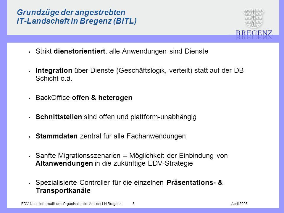 EDV-Neu - Informatik und Organisation im Amt der LH Bregenz 5April 2006 Grundzüge der angestrebten IT-Landschaft in Bregenz (BITL) Strikt dienstorient