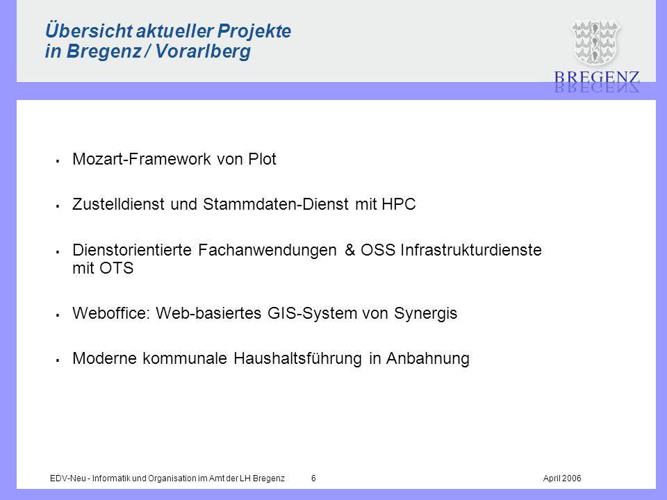 EDV-Neu - Informatik und Organisation im Amt der LH Bregenz 6April 2006 Übersicht aktueller Projekte in Bregenz / Vorarlberg Mozart-Framework von Plot