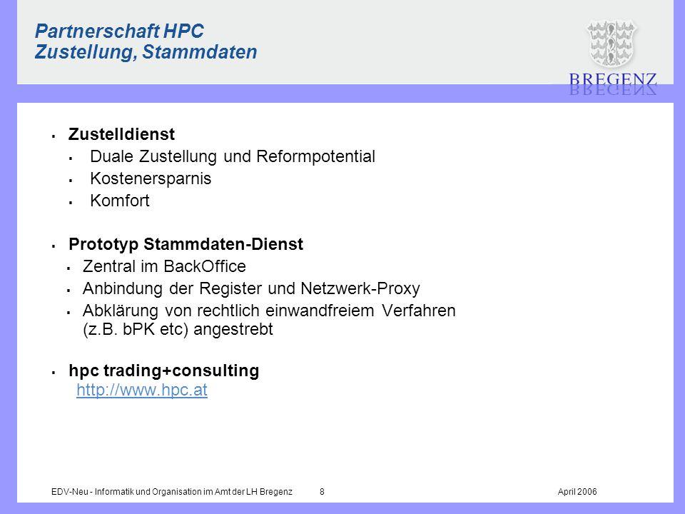 EDV-Neu - Informatik und Organisation im Amt der LH Bregenz 8April 2006 Partnerschaft HPC Zustellung, Stammdaten Zustelldienst Duale Zustellung und Re