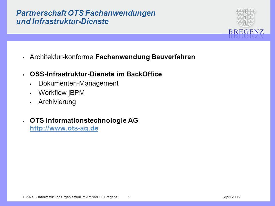 EDV-Neu - Informatik und Organisation im Amt der LH Bregenz 9April 2006 Partnerschaft OTS Fachanwendungen und Infrastruktur-Dienste Architektur-konfor