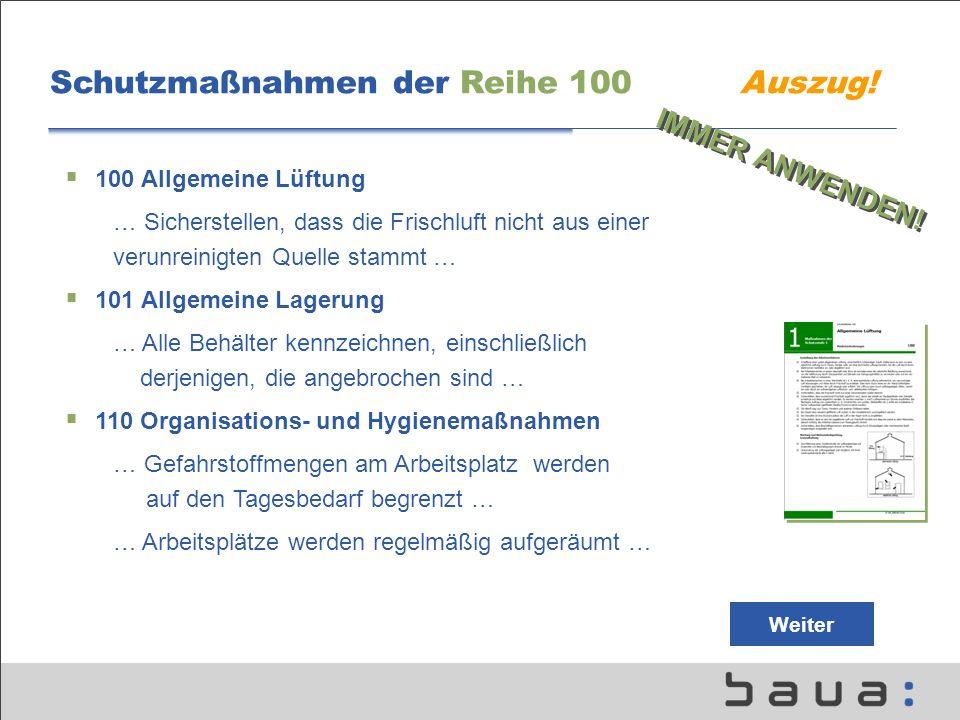Schutzmaßnahmen der Reihe 100 Auszug.