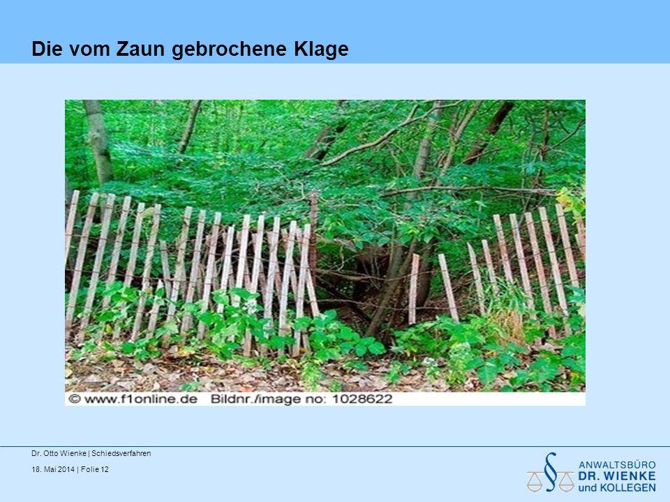 18. Mai 2014 | Folie 12 Die vom Zaun gebrochene Klage Dr. Otto Wienke | Schiedsverfahren