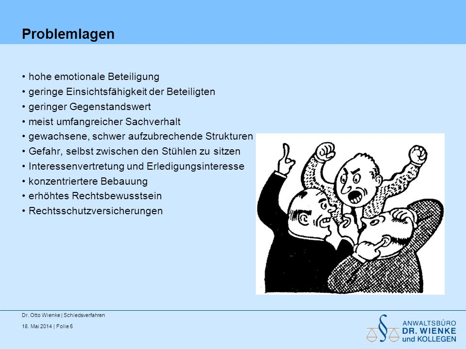 18. Mai 2014 | Folie 6 Der Apfelbaum Dr. Otto Wienke | Schiedsverfahren