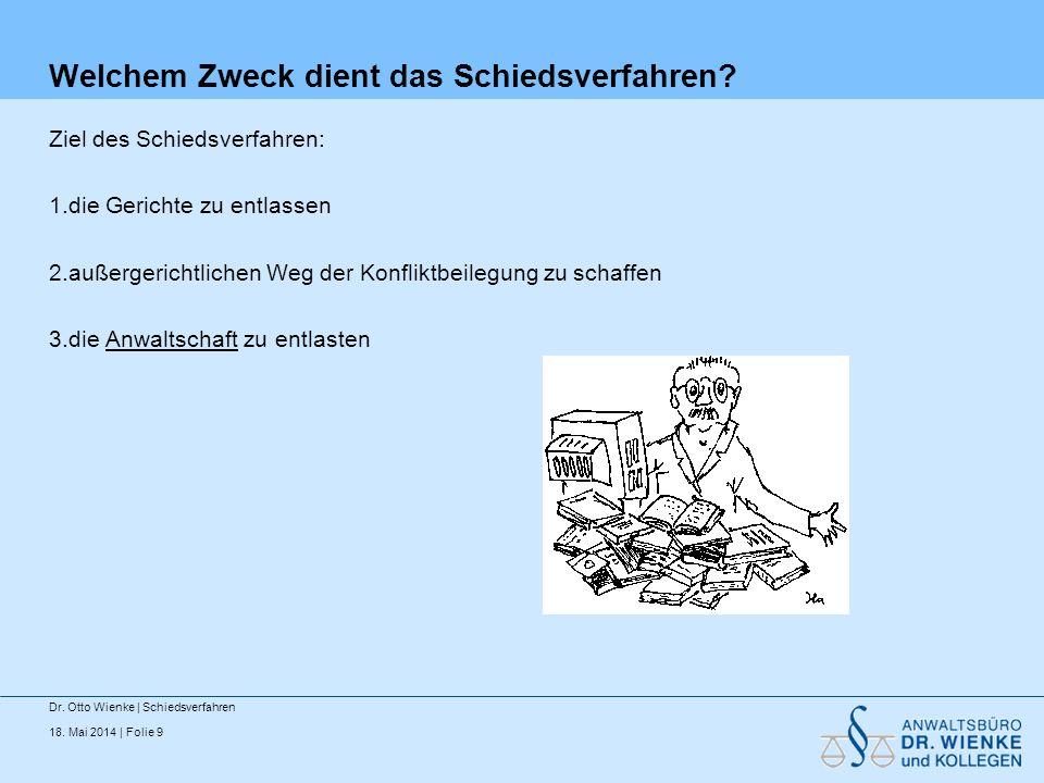 18. Mai 2014 | Folie 20 Überwuchs Dr. Otto Wienke | Schiedsverfahren