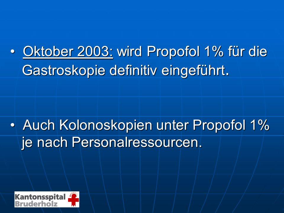 Oktober 2003: wird Propofol 1% für die Oktober 2003: wird Propofol 1% für die Gastroskopie definitiv eingeführt. Gastroskopie definitiv eingeführt. Au