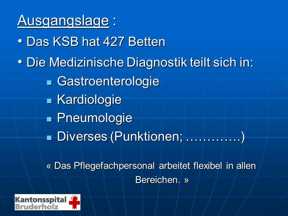 Ausgangslage : Das KSB hat 427 Betten Das KSB hat 427 Betten Die Medizinische Diagnostik teilt sich in: Die Medizinische Diagnostik teilt sich in: Gas