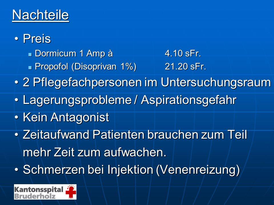 Nachteile Nachteile PreisPreis Dormicum 1 Amp à 4.10 sFr. Dormicum 1 Amp à 4.10 sFr. Propofol (Disoprivan 1%) 21.20 sFr. Propofol (Disoprivan 1%) 21.2