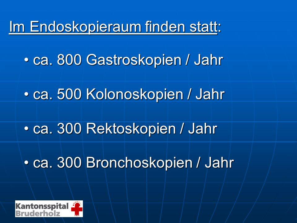 Im Endoskopieraum finden statt: ca. 800 Gastroskopien / Jahrca. 800 Gastroskopien / Jahr ca. 500 Kolonoskopien / Jahrca. 500 Kolonoskopien / Jahr ca.