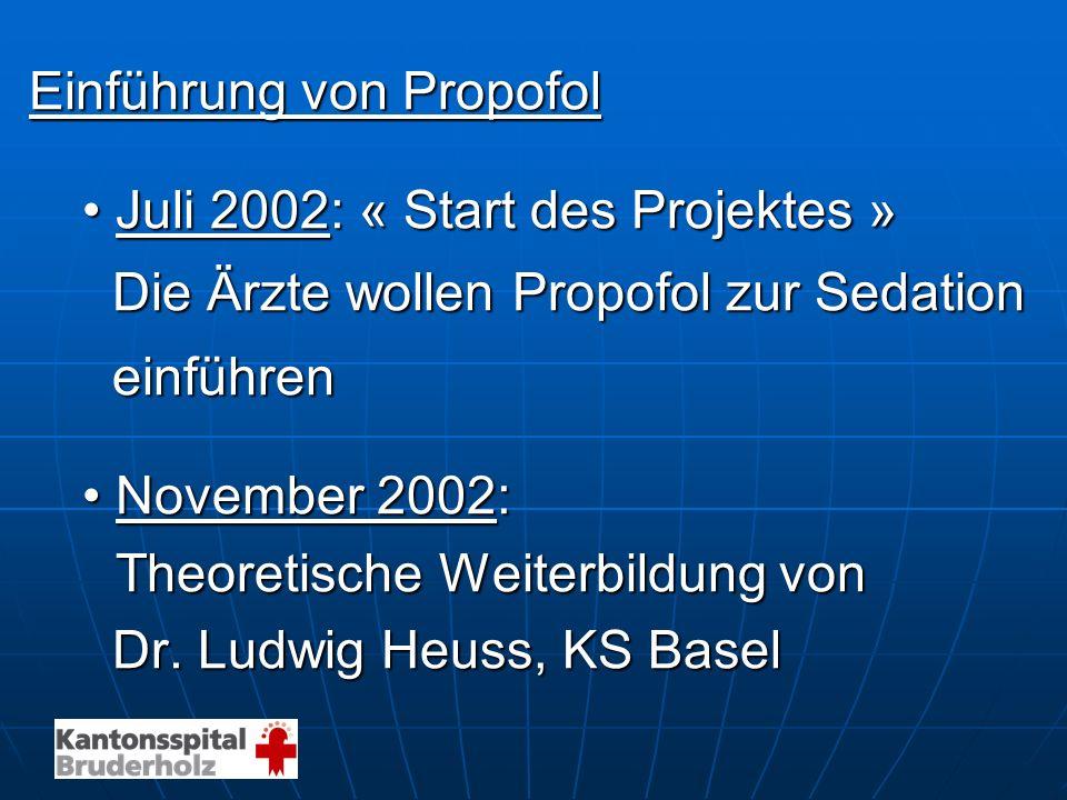 Einführung von Propofol Juli 2002: « Start des Projektes »Juli 2002: « Start des Projektes » Die Ärzte wollen Propofol zur Sedation Die Ärzte wollen P