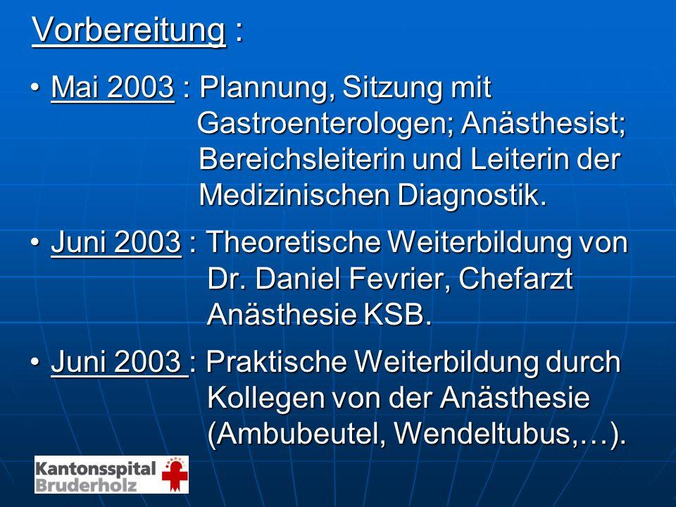 Vorbereitung : Vorbereitung : Mai 2003 : Plannung, Sitzung mitMai 2003 : Plannung, Sitzung mit Gastroenterologen; Anästhesist; Gastroenterologen; Anäs