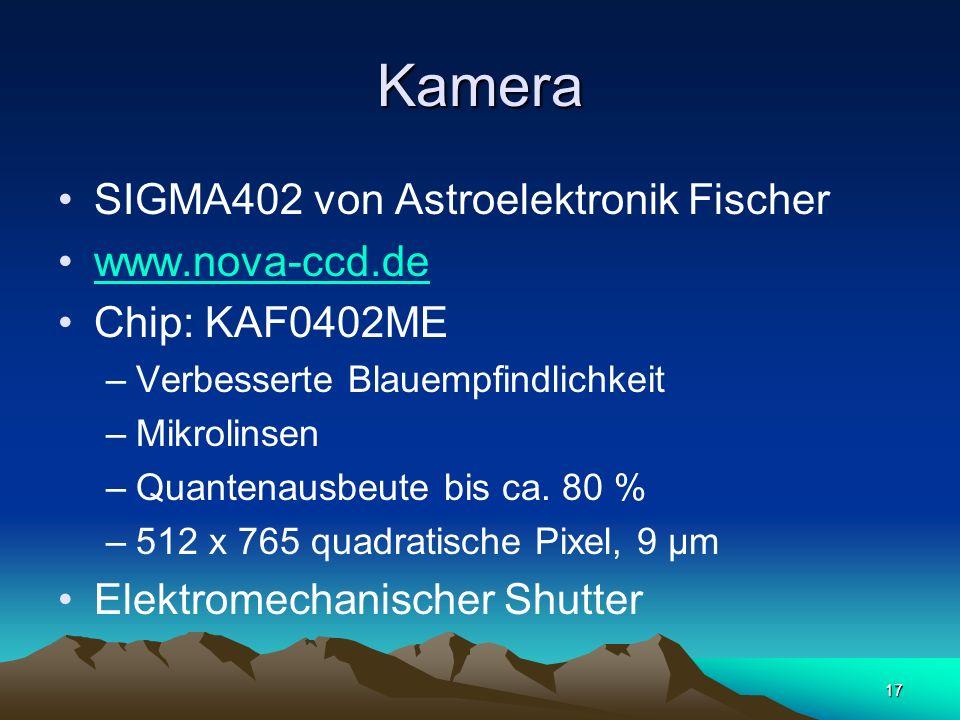 17 Kamera SIGMA402 von Astroelektronik Fischer www.nova-ccd.de Chip: KAF0402ME –Verbesserte Blauempfindlichkeit –Mikrolinsen –Quantenausbeute bis ca.