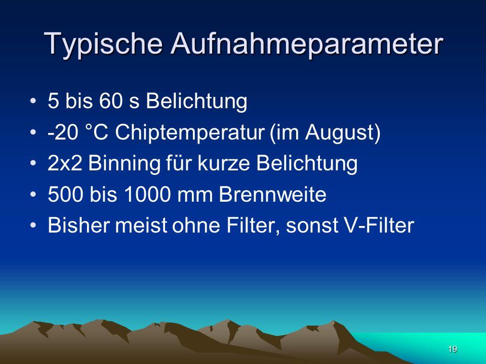 19 Typische Aufnahmeparameter 5 bis 60 s Belichtung -20 °C Chiptemperatur (im August) 2x2 Binning für kurze Belichtung 500 bis 1000 mm Brennweite Bish