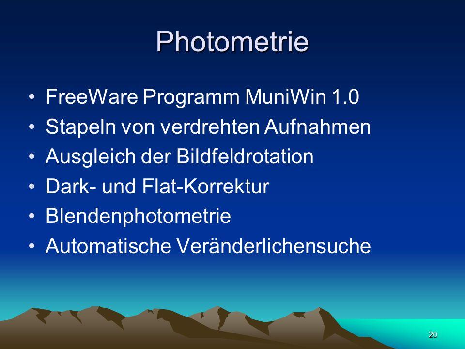 20 Photometrie FreeWare Programm MuniWin 1.0 Stapeln von verdrehten Aufnahmen Ausgleich der Bildfeldrotation Dark- und Flat-Korrektur Blendenphotometr
