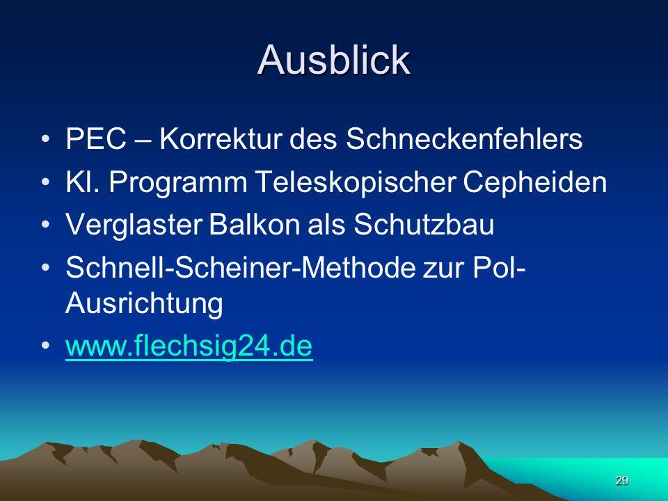 29 Ausblick PEC – Korrektur des Schneckenfehlers Kl. Programm Teleskopischer Cepheiden Verglaster Balkon als Schutzbau Schnell-Scheiner-Methode zur Po